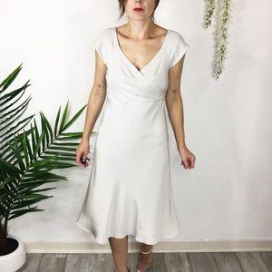 J. CREW silver midi dress v-neck 100% silk